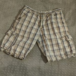 Wrangler Plaid Cargo Shorts Husky